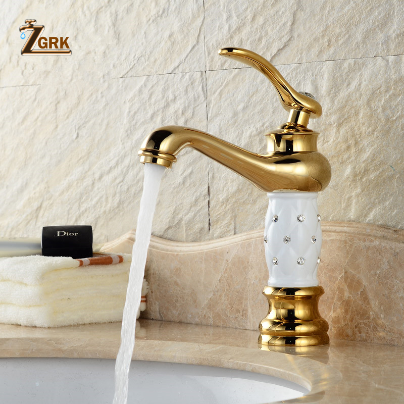 ZGRK Basin Faucets Golden Bathroom Sink Faucet Creative Design Crystal Deck Mounted Hot and Cold Water Single Hole Mixer Taps