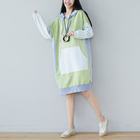Japanese Harajuku Oversize Hooded Dress Patchwork Long Hoodies Sweatshirt Casual Knitted Baggy Pullovers Plus Size Retro Robe