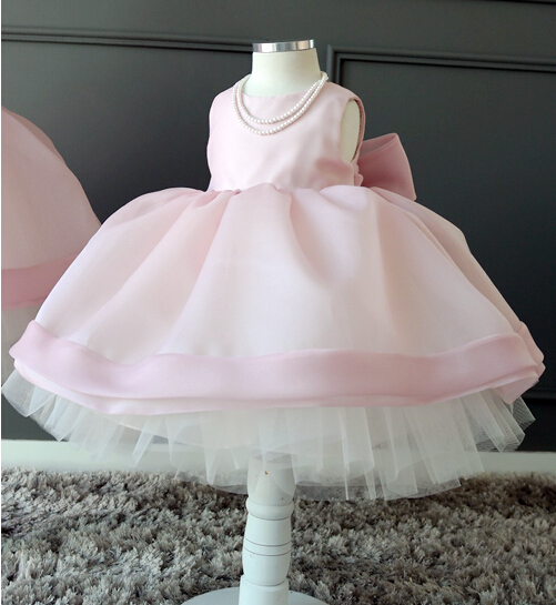 Dusty pink ball gown tutu princess 1 year Birthday party Dress for Baby girl with bow knee-length baptism gown christening dress