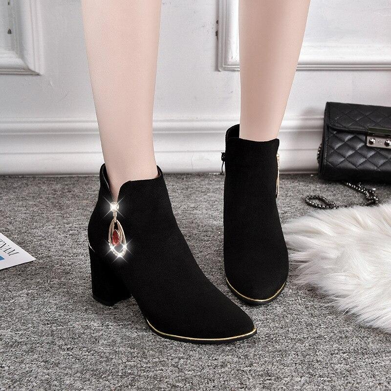 d00d4b18 Punta Sólido Casual Costura Cristal Invierno Alta Botas Chelsea rojo Moda  Zapatos Más Rebaño Tobillo De Negro Tamaño Tacón Cuadrado Mujeres gxqrzpgAw