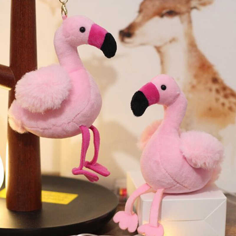 Fluffy Flamingo Keychain Pompom Woman Fur Bag Charms Keyrings Pom Car Pendant Key Ring Holder Jewelry Christmas Random