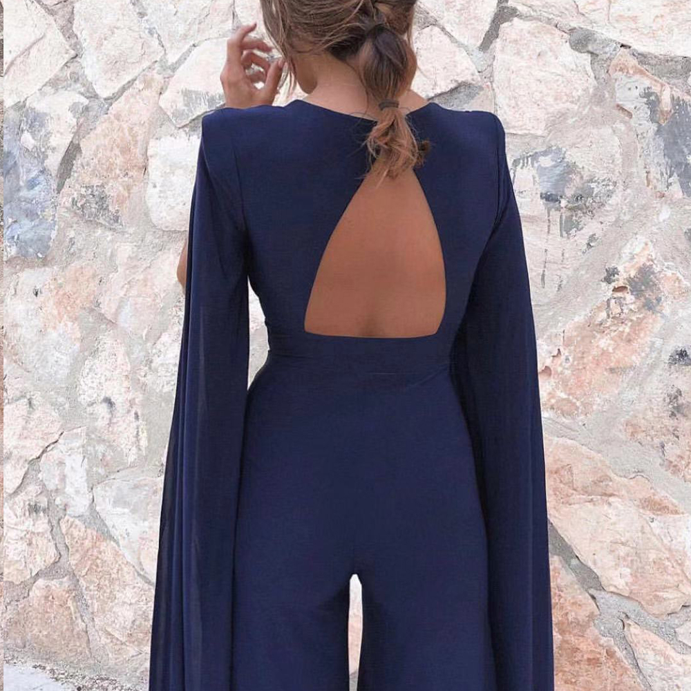 Missord 2020 New Summer  Sexy Deep V Bodysuits Elegant Rompers Chiffon Long Sleeve Backless Sexy Bodycon  Jumpsuit FT18846-1