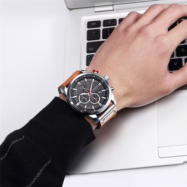 CURREN Men's Luxury Casual Chronograph Waterproof Date Genuine Leather Watches 4