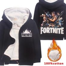 Fortnite 가을 어린이 소년 소녀 가을 따뜻한 지퍼 코트 레저 재킷 겨울 봄 키즈 착용 코튼 셔츠 늦은 가을 겉옷