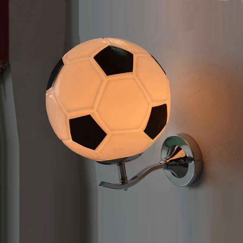 Children room Football Wall lamp with Glass Lampshade bedroom E27 black white kids Lighting Accessory Bar Night led Wandlamp