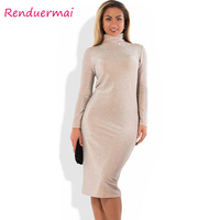 Winter Christmas Dress Sparkly Bandage Bodycon Dress 2017 Plus Size Party Dress Long Sleeve Turtleneck Women