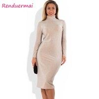 Winter Christmas Dress Sparkly Bandage Bodycon Dress 2017 Plus Size Party Dress Long Sleeve Turtleneck Women