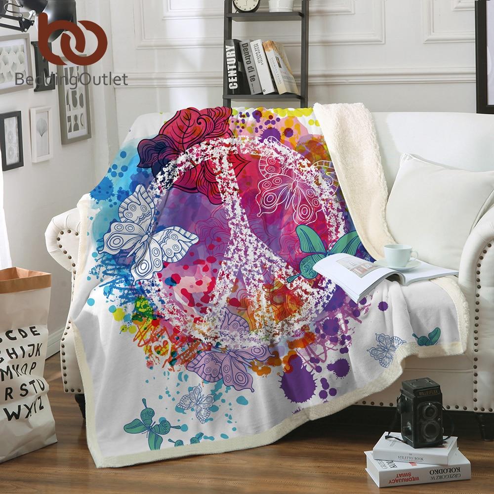 Literieoutlet Aquarelle Papillon Velours Couverture En Peluche Colorée Sherpa Couverture pour Canapé-Lit Paix Conception Couette Mince