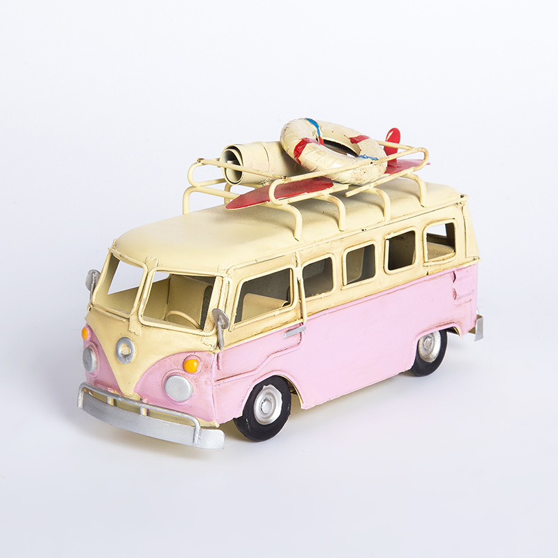 Exquisite Old Mini Bus Model Decoration Figurines American Nostalgic Home Decor Bar Personality Ornament Vintage Gift Collection