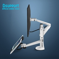 OA 8 Desktop Clampping Full Motion Height Adjustable Double Arm Tablet PC Holder + Single Arm Monitor Holder Tablet PC Stand