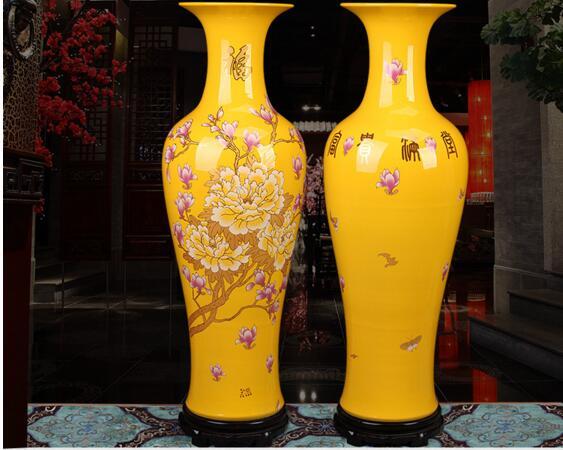 Большой красный золотой ваза цветы пиона гостиная родиться новый дом предметы мебели насыщенный желтый и синий