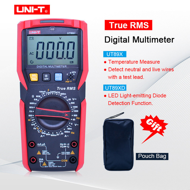 UNI-T UT89X/UT89XD true RMS Digital multimeter 20A high current digital multimeter NCV/capacitor/triode/temperature/LED test