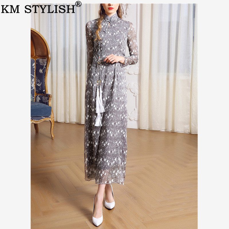 Vintage Nouveau Poire Style Gris Chinois Longue 2019 Slim De Robe Taille Modifié Cheongsam Boucle mollet Mi République Soie Moyen Mousseline ACqZZw