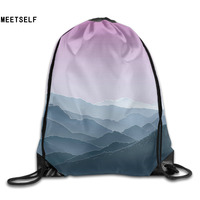 3D Print Artistic Mountain Shoulders Bag Women Fabric Backpack Girls Beam Port Drawstring Travel Shoes Dust