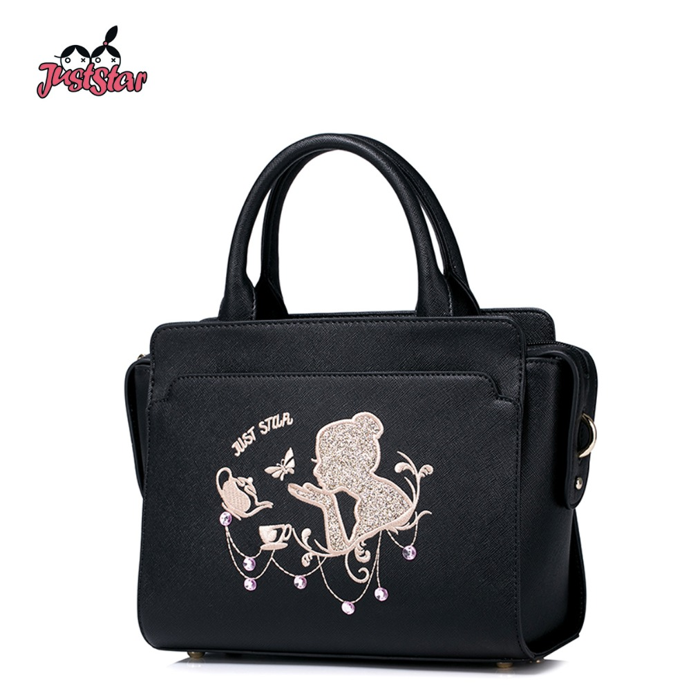 JUST STAR Women's PU Leather Handbags Ladies Fashion Embroidery Cute Tote Bags Female Beading Wings Messenger Bags JZ4173 just star women s pu leather handbags ladies fashion rivet tote bags female cat cute messenger bags brand high quality jz4227