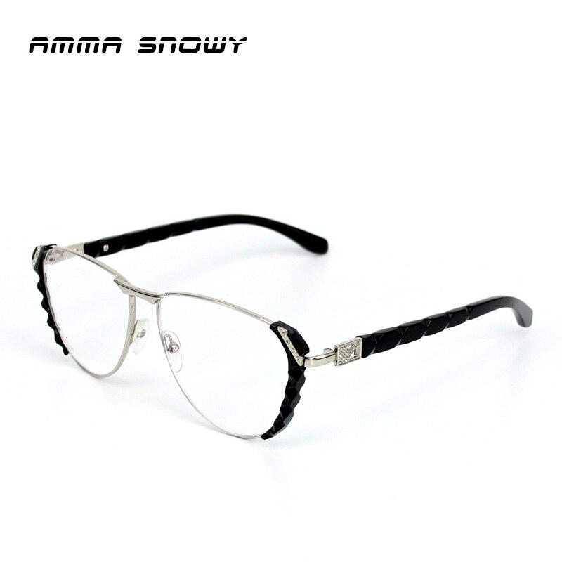 Amma nieve nuevo diamante Gafas para leer mujeres grandes negro ...