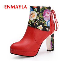 ENMAYLA High Quality Handmade Woman Ankle Boots Lace Up Round Toe Shoes Floral Short Plush Flock