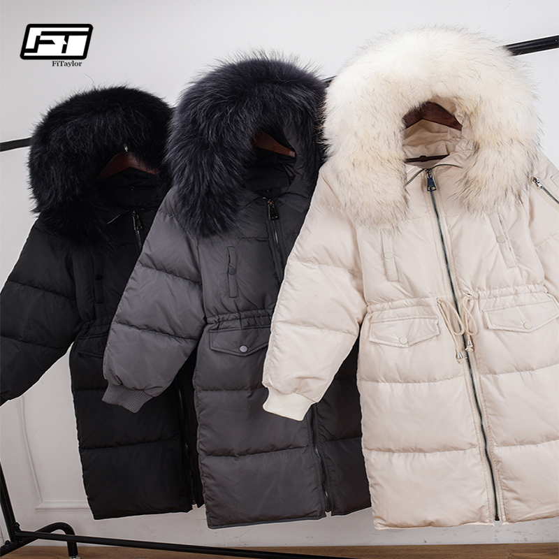 Fitaylor Large Raccoon Fur Collar White Duck Down Jackets Women Winter Hooded Parkas Adjustable Waist Loose Fit Snow Overcoat