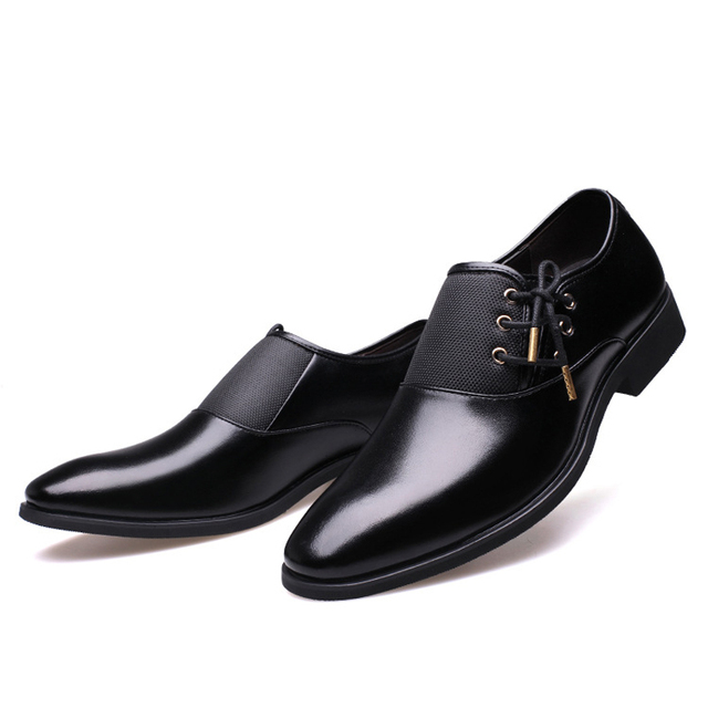 Black Classic Point Toe Oxfords For Men Shoes 5