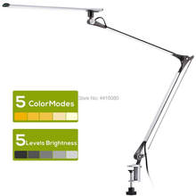 led Desk Lamp Swing Arm Task Lamp with Clamp Eye-care Dimmable Office Light with Touch Control Memory Functio Metal Architect12w