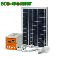 ECOworthy 25W poly solar power panel & 7AH battery solar generator LED Light USB 5m line Charger for House solar Portable System