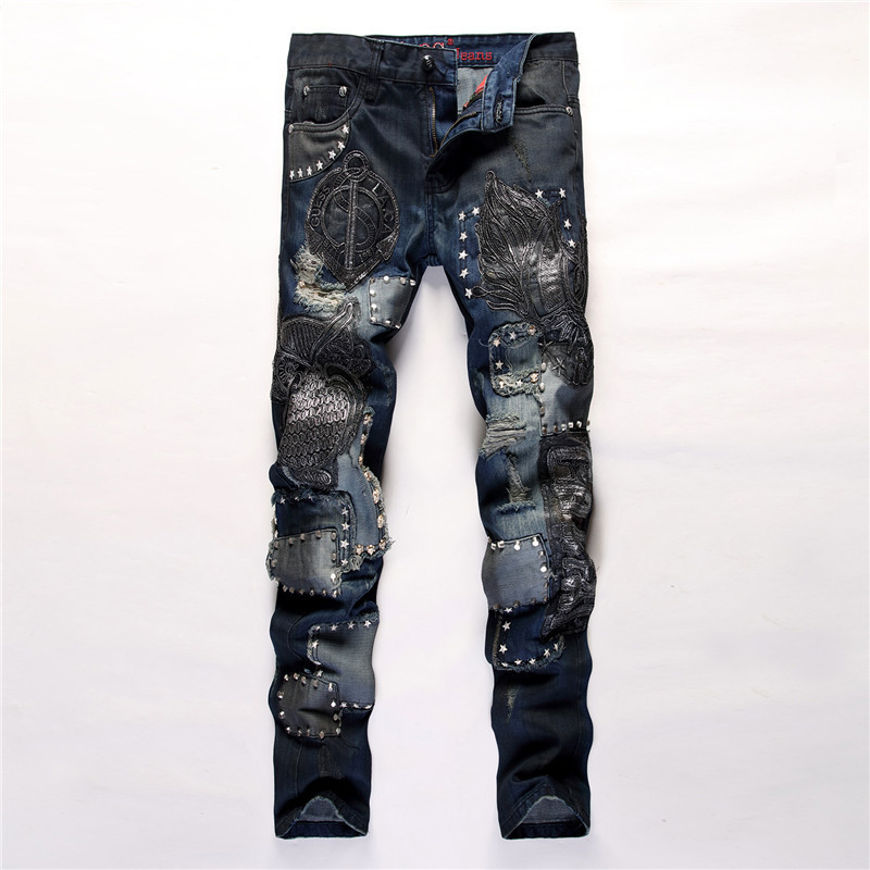 2019 di Marca di Modo di Stile Americano Europeo degli uomini di colore dei jeans di lusso casuali degli uomini del denim dei pantaloni Del Foro Sottili jeans Dritto per uomini-in Jeans da Abbigliamento da uomo su  Gruppo 1