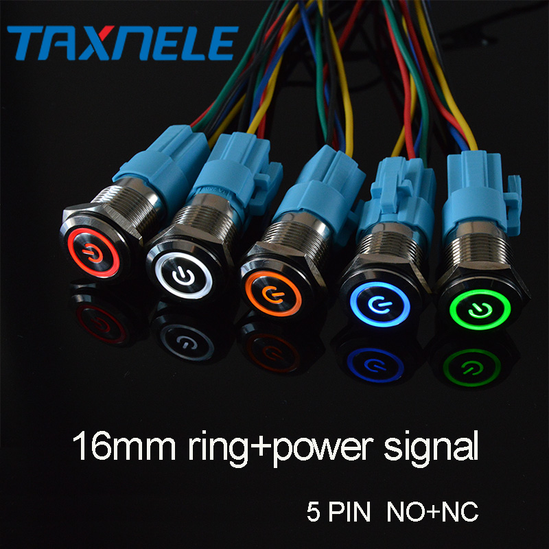 """19mm Latching Push Button Switch 3//4/"""" 12V DC Power Symbol LED with Socket plug"""