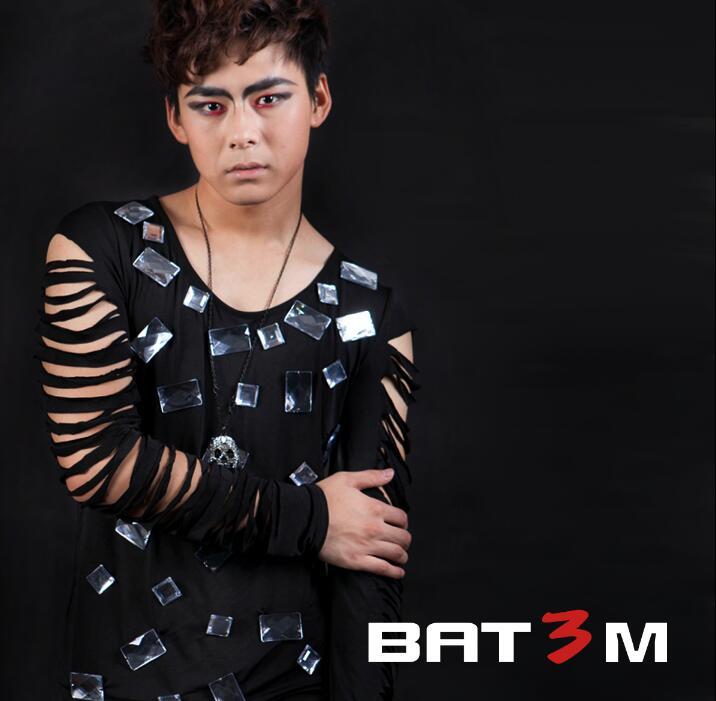 Punk slim sexy trou chemise hommes à manches longues chemise adolescent coréen t-shirt hommes personnalité scène chanteur danse noir original