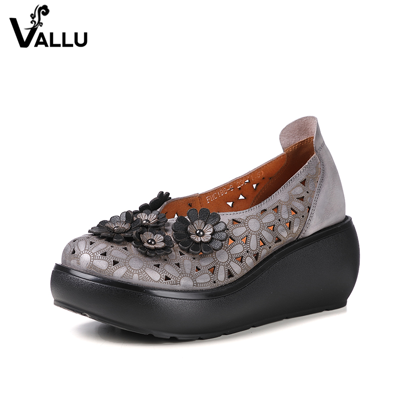 2018 Spring Handmade Shoes Platform Wedges Women Pumps Flower Cut Out Genuine Leather Women Casual Shoes High Heels genuine cow leather spring shoes wedges soft outsole womens casual platform shoes high heel round toe handmade shoes for women