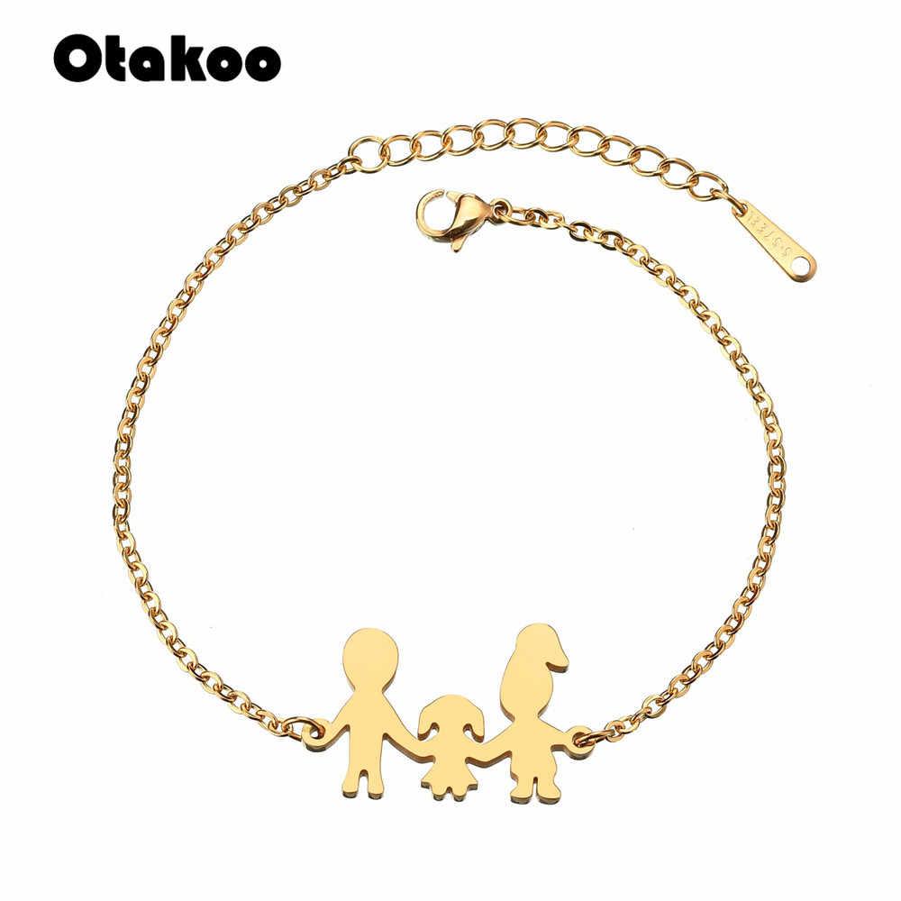 Otakoo ครอบครัวเรียบง่ายสร้อยข้อมือพ่อแม่ลูกสาวสร้อยข้อมือไทเทเนียมสตีลเครื่องประดับ Drop Shipping