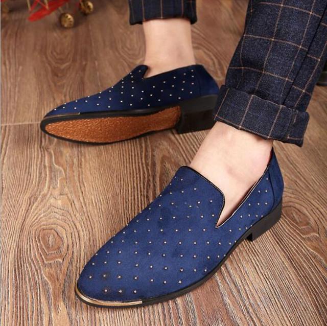 Silver Gold Spike Men's Shoe