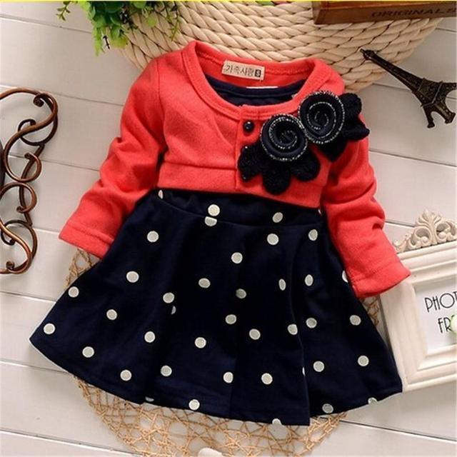 Nova moda 100% de algodão do bebê vestidos do natal da menina roupa dos miúdos das crianças linda princesa dois tons de emenda bolinhas dress