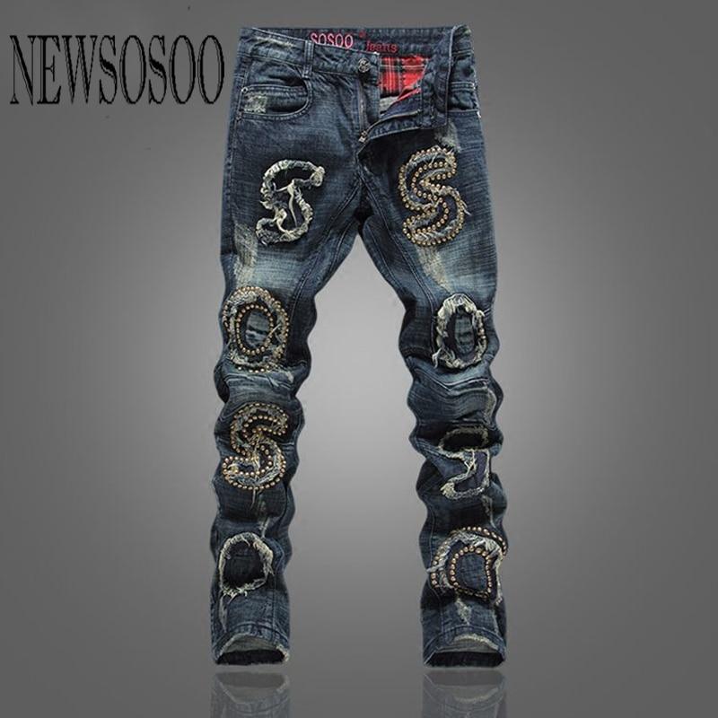 NEWSOSOO Size 28-38 2016 Ripped Jeans Men Vintage Winter Warm Jeans Rivet Denim Overalls Mens Pants Biker Jeans Brand Clothing