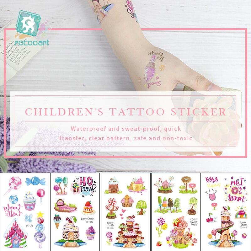 Rocooart Sweet Castle Tattoo For Kid Cute Fake Taty Children Tatuaje Candy Icecream Body Art Waterproof Temporary Tattoo Sticker