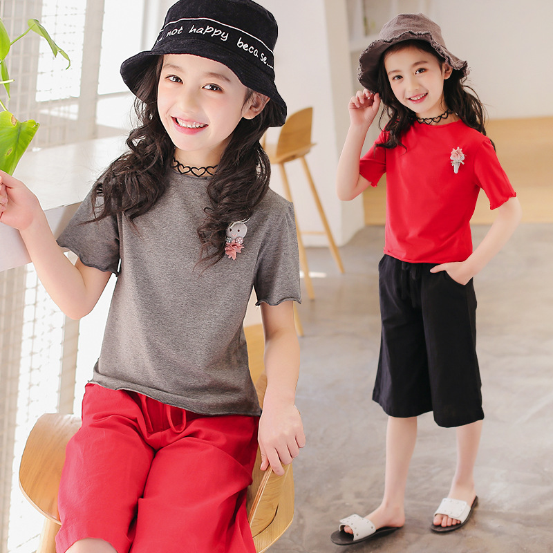 Girls Clothing Sets Cotton Casual Children Clothing Sets Short Sleeve T-Shirts + Pants 2Pcs Kids Clothing For Girls Baby Clothes 2017 new minnie girls clothing sets spring casual cotton baby suspenders set full sleeve shirts jeans 2 pcs kids clothing