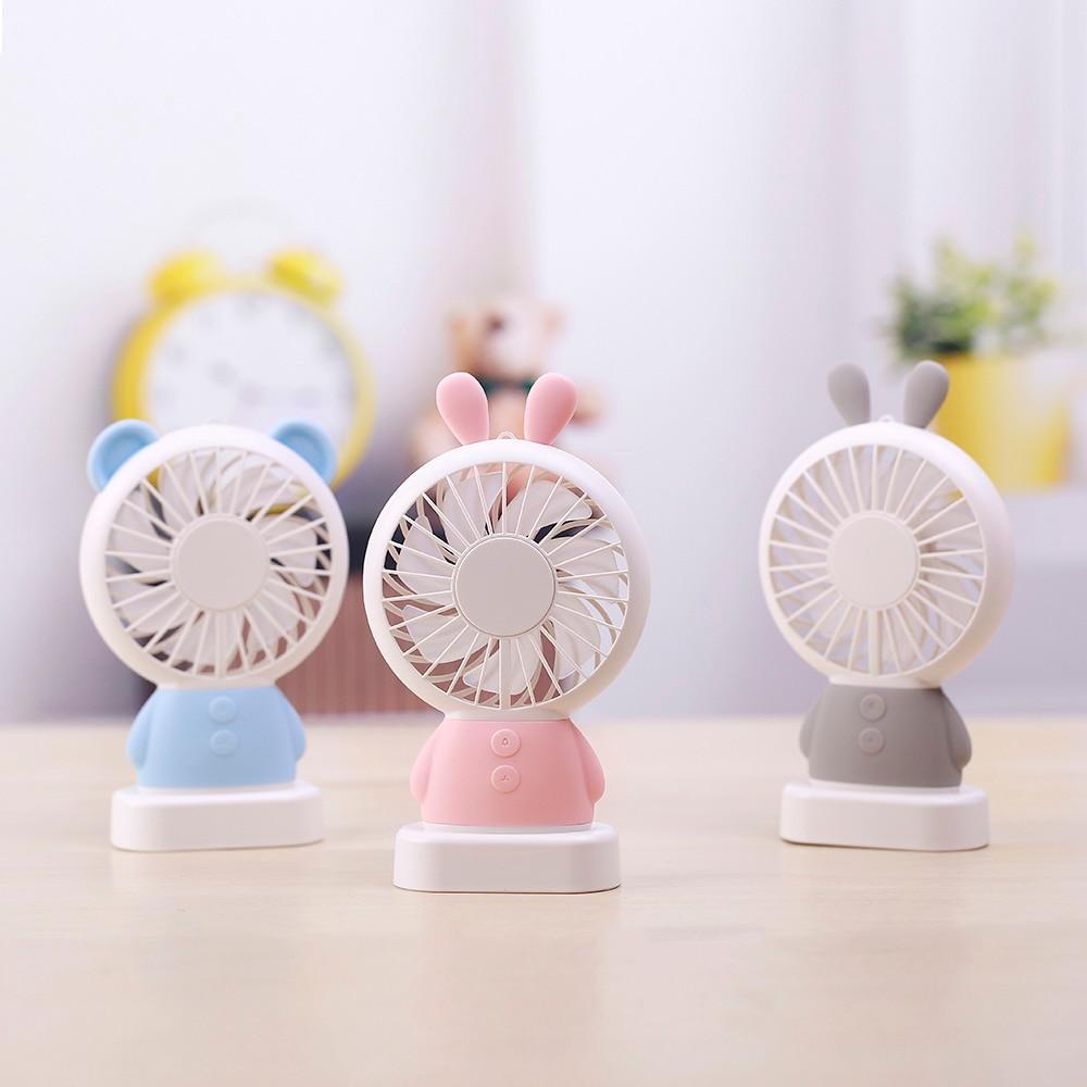 Zaiwan LED USB Fan 2-Speed Adjustable Portable Rabbit/Bear Mini Fan Hand Fans 800mAh Rechargeable Micro USB Desk Air Cooling Fan