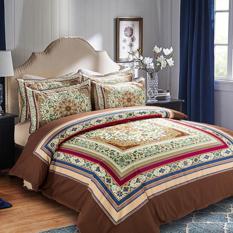 Home textile bohe blue flower bedding set cat duvet cover twin full queen size bed sheet pillowcase bed linen bedspread adult k ...