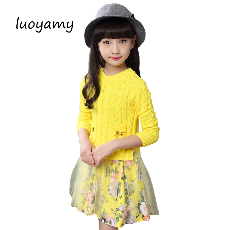 luoyamy Autumn Winter Girls Children's Flower Lace Patchwork Clothes 2017 Infant Kids Costume Baby Next Party Princess Dresses jioromy 2017 autumn girls children s stripe printed asymmetrcal clothes infant kids costume princess baby next party dresses
