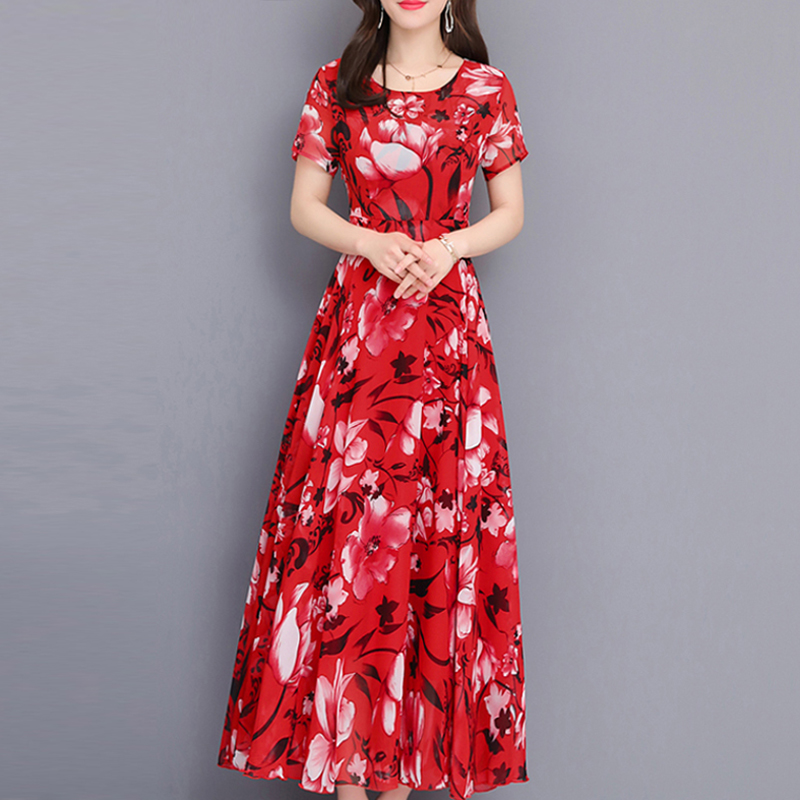 women 2019 summer Casual Print Chiffon dress fashion Short sleeve O Neck long dress elegant Ruffles