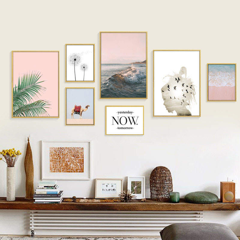Nordic Pink Leaf Posters And Prints Desert Beach Wall