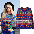 Smoves Women Tribal Aztec Digital Print Fitted Knitted Sweater Jumper Tops Pullover Knitwear 2016 New Free Shipping SW94