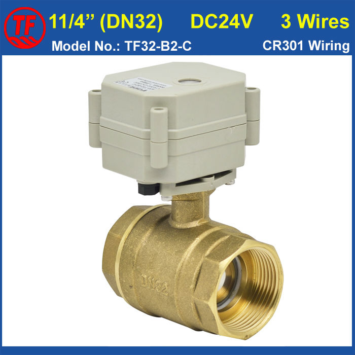 ФОТО DC24V 3 Wires 2 Way 11/4'' Electric Brass Ball Valve With Position Indicator 29mm Bore Electric Actuated Valve