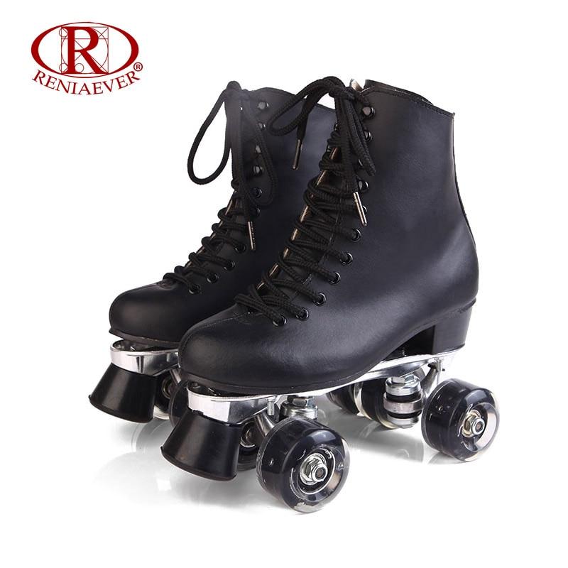 Prix pour Reniaever patins à roulettes en cuir véritable double ligne patins dame en métal base 4 led éclairage roues deux ligne de patinage chaussures patines
