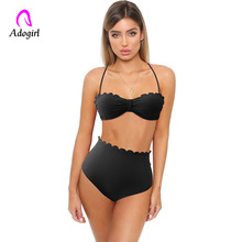 2019 New Summer Women Solid beach Set Push-up UnPadded Bra bathing suit Triangle Bather Suit Swimming Bathing overalls