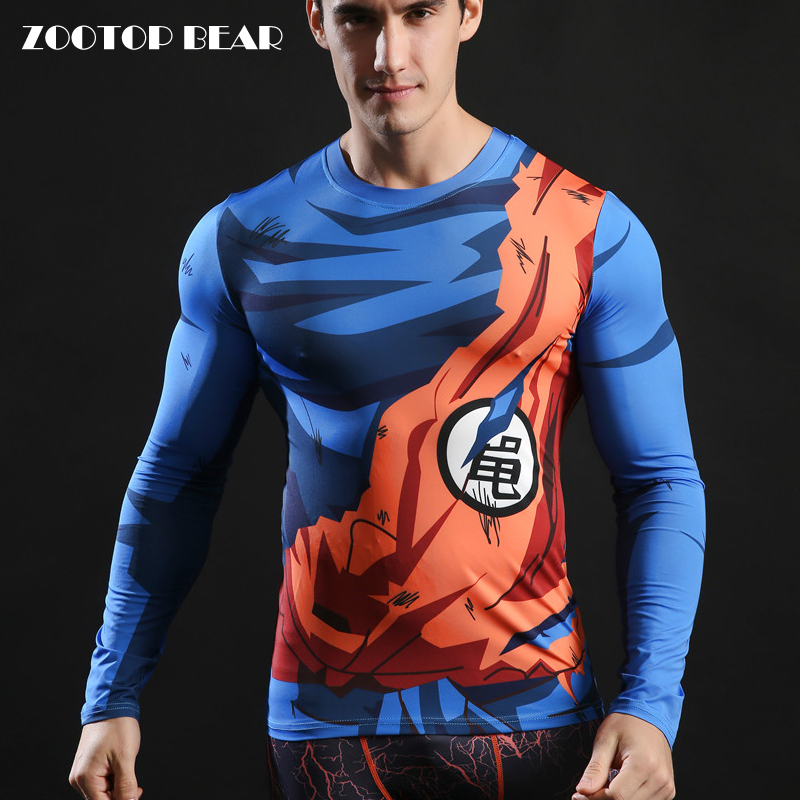 Anime Tshirts Dragon Ball Top 3D Super Saiyan Goku Tee shirt 2017 Novelty Streetwear Comics Men Long Sleeve Camiseta ZOOTOP BEAR