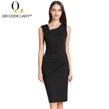 QR Sleeveless Summer Dress Women 2019 Casual Solid Office Lady Pencil  Bodycon Dresses Female Vintage Sexy. 9 Colors Available e2e0a0b4c89c