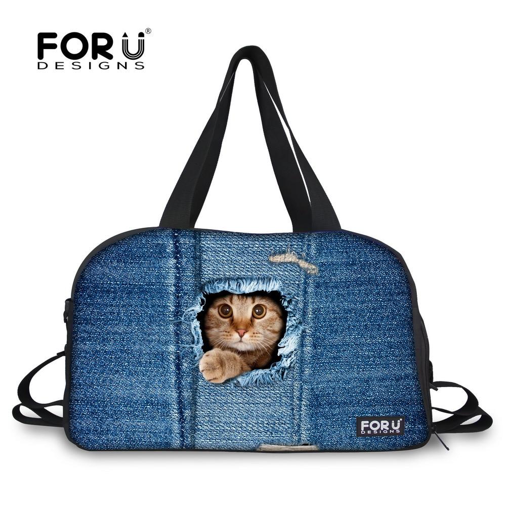 Brand Woman Luggage Travel Bags Cute Kitty Cat Dog Animal Printing Canvas Duffle Bag Large Capacity