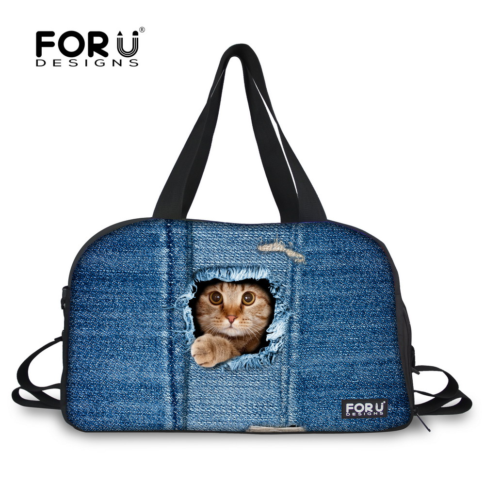Brand Woman Luggage Travel Bags Cute Kitty Cat Dog Animal Printing Canvas Duffle Bag Large Capacity Las Travels Shoulder In From