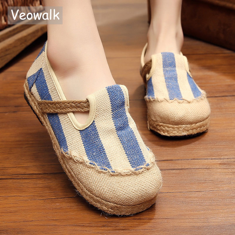 Veowalk Striped Women Casual Cotton Cloth Loafers Handmade Slip on Ladies Thick Hemp Soled Canvas Flat Shoes Zapato Mujer women cartoon loafers 2015 casual canvas flats shoesladies trifle thick soled creepers footwear mujer zapatos
