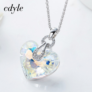 Image 3 - Cdyle Embellished with crystal Pendant Blue AB Color Heart Shaped Trendy Engagement Jewelry Bijoux Sexy Lady